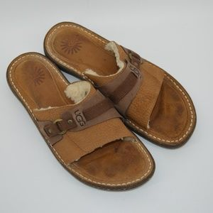 UGG leather slide sandals
